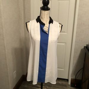 Alfani sleeveless collared white & blue tunic 6(s)